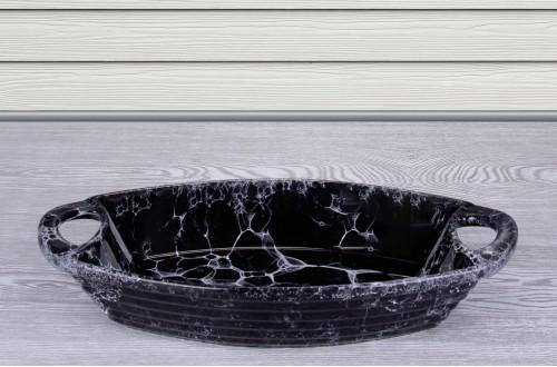 Çatlatma Desenli Oval Fırın Kabı
