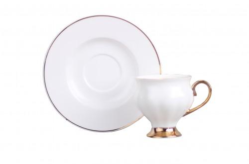 6Lı Ayaklı Beyaz Altın Yaldız Fincan Seti