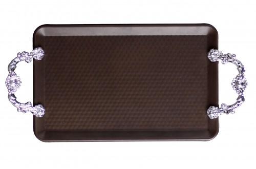 18x23 Cm Plastik Kulplu Metal Tepsi
