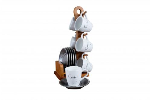 Silver Bambu Standlı Kahve Fincanı Takımı