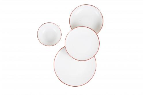 24 Parça Bronz Beyaz Porselen Yemek Takımı