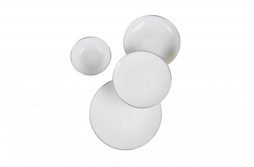 24 Parça Gümüş Beyaz Porselen Yemek Takımı